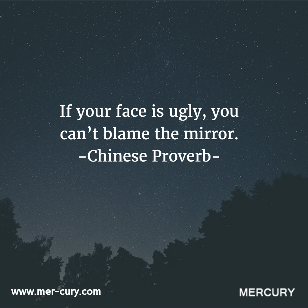 If you dont like the person you see in the mirror then you have nobody to blame but yourself this chinese proverb can be extended to every area of life
